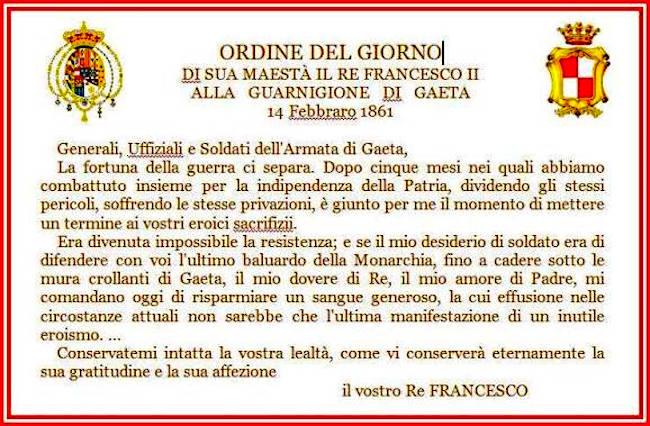 14.2.1861 Proclama di Re Francesco II (f.p.g.c. Carlo Di Nitto a www.lavocedelmarinaio.com
