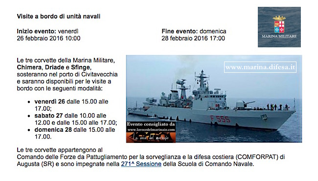 26-28.2.2016 a Civitavecchia visita a bordo unità navali - www.lavocedelmarinaio.com