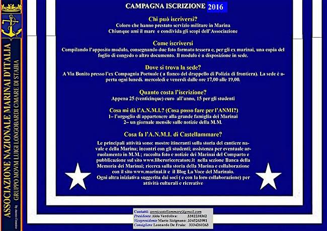 campagna iscrizioni a.n.m.i. castellammare di stabia - www.lavocedelmarinaio.com