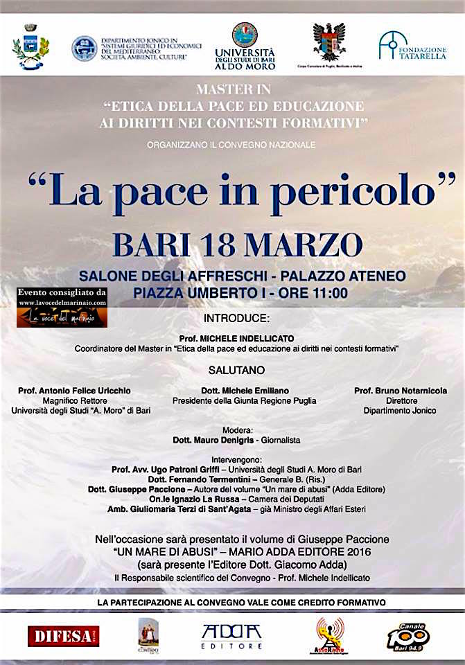 18.3.2016 a Bari convegno su la pace è in pericolo - www.lavocedelmarinaio.com