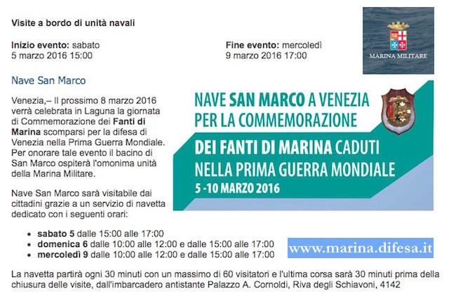 5-6 e 9.3.2016 a Venezia visita nave San Marco - www.lavocedelmarinaio.com