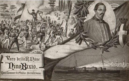 Cartolina illustrativa del varo della regia nave Nino Bixio - www.lavocedelmarinaio.com