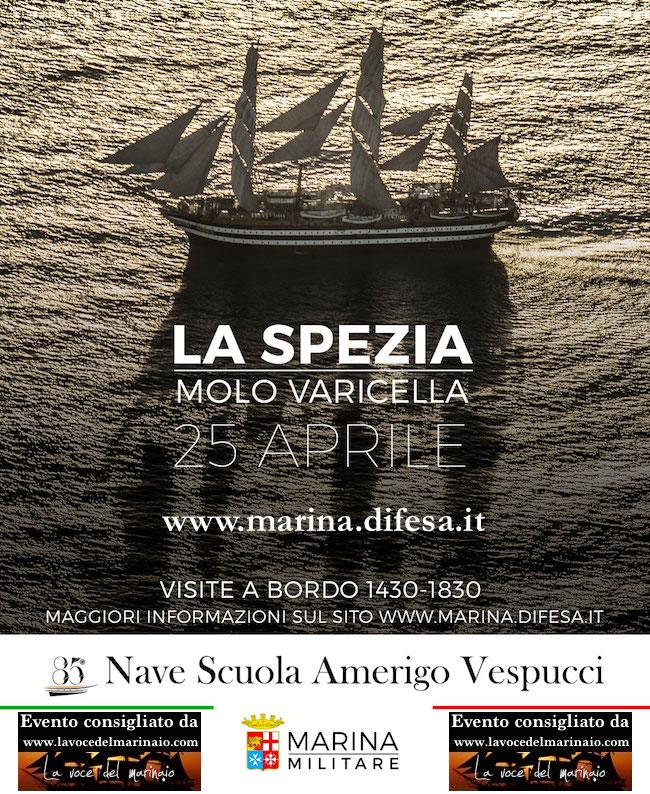 25.4.2016 nave vespucci salpa da La Spezia - www.lavocedelmarinaio.com