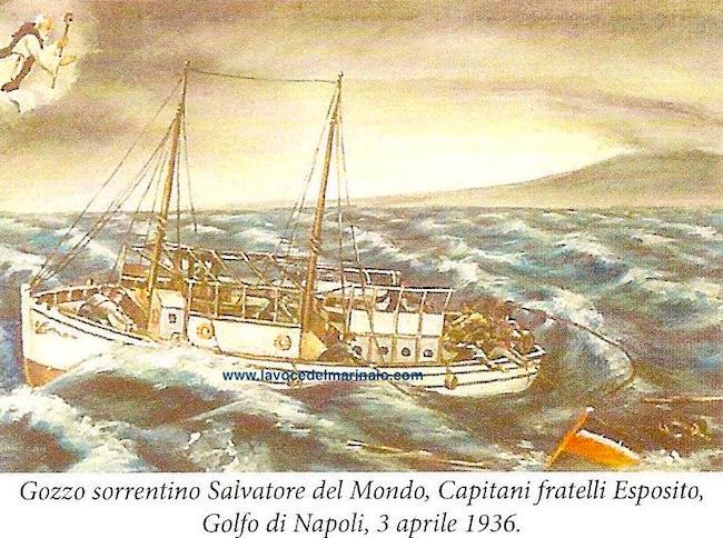 3.4.1936 Ex voto Gozzo sorrentino Salvatore del Mondo, Capitani fratelli Esposito - www.lavocedelmarinaio.com