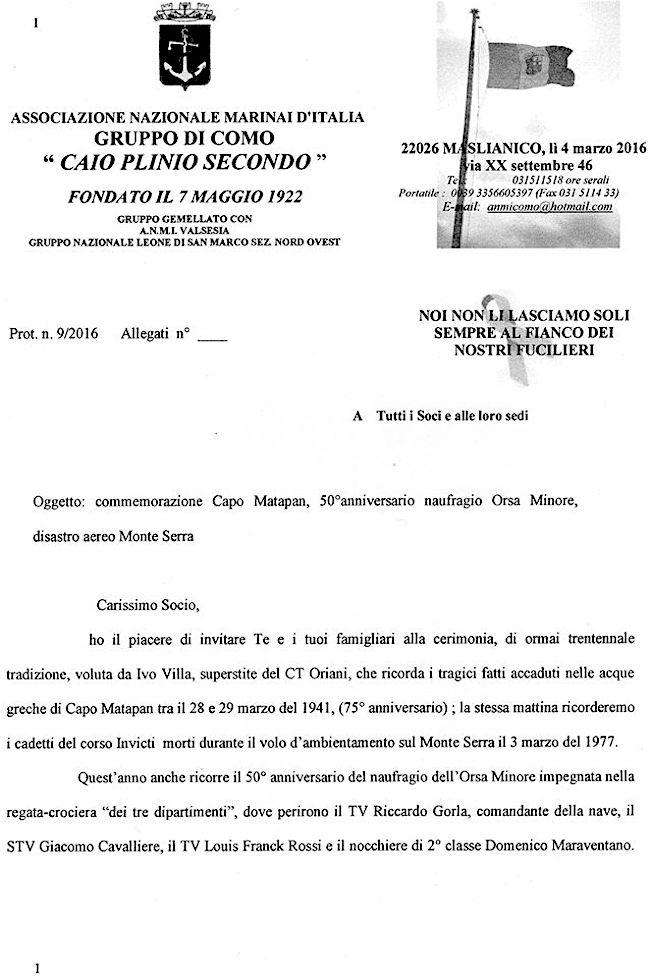 3.4.2016 a Como per ricordare vittime battaglia Capo Matapan - www.lavocedelmarinaio.com