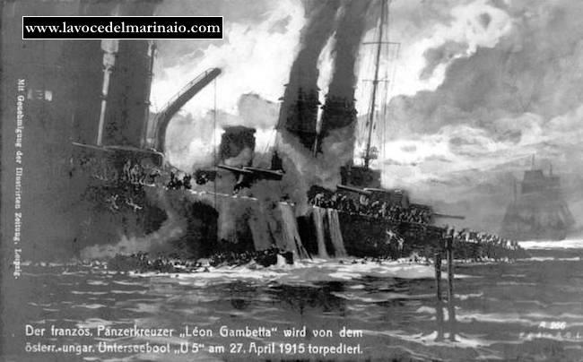 Affondamento  nave Leon Gambetta immaggine d'epoca - www.lavocedelmarinaio.com