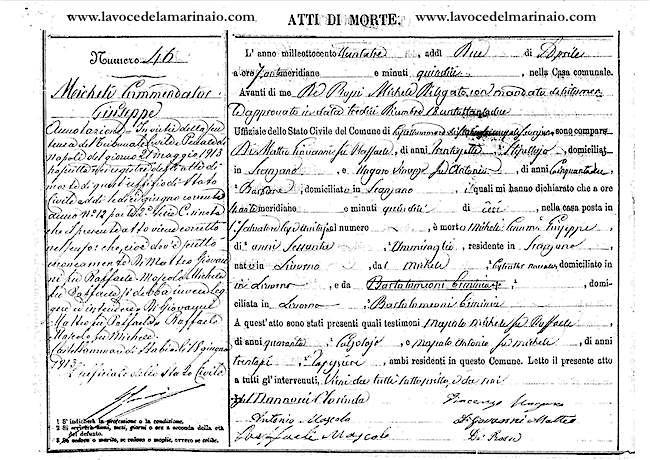 Comun di Castellammare di stabia - Atto di morte di Giuseppe Micheli - www.lavocedelmarimnaio.com copia