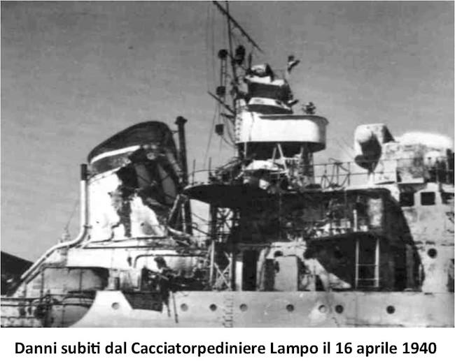 Danni-subiti-cacciatorpediniere-Lampo-il-16.4.1940