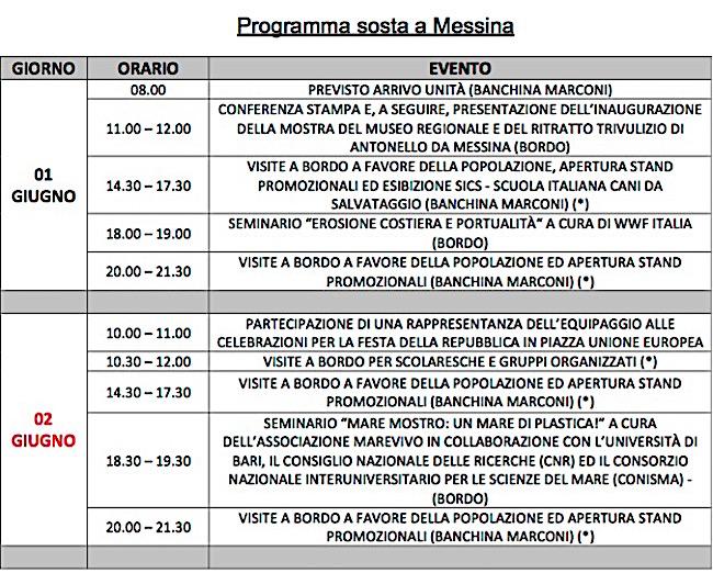 1-3.6.2016 Messina nave Vespucci programma visite - www.lavocedelmarinaio.com