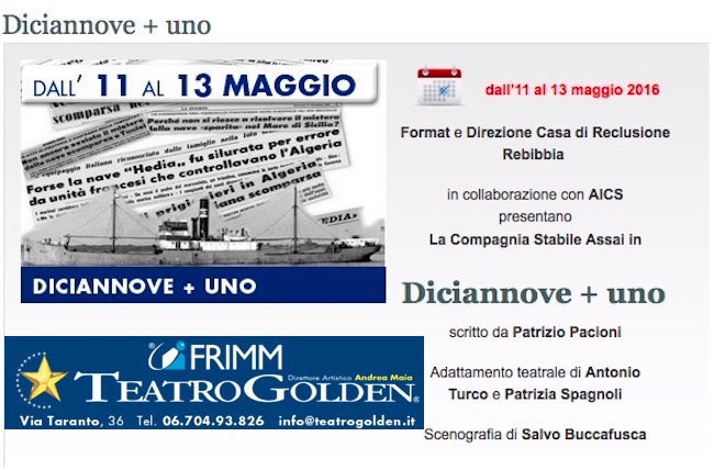 11-13.5.2016 presso il teatro Golden di Roma Diciannove+uno - www.lavocedelmarinaio.com