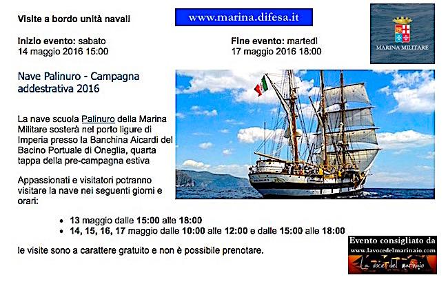 14-17.5.2016 a Imperia visite a bordo di nave Palinuro - www.lavocedelmarinaio.com