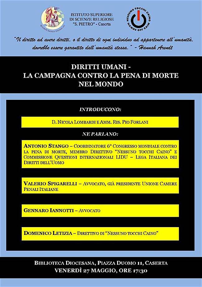27.5.2016 a Caserta contro la pena di morte - www.lavocedelmarinaio.com
