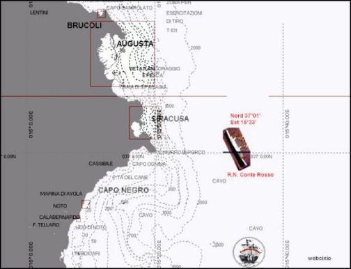 coordinate punto affondamento regia nave Conte Rosso (f.p.g.c. Francesco Carriglio a www.lavocedelmarinaio.com)