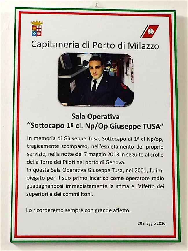 sala operativa Cp di Milazzo dedicata a Giuseppe Tusa - www.lavocedelmarinaio.com