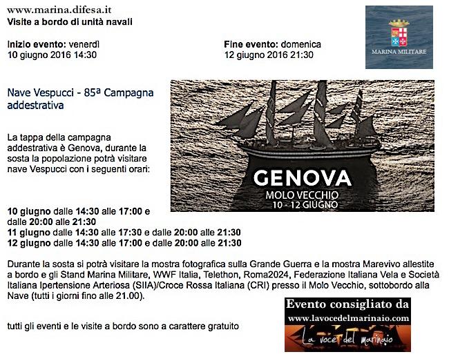 10-13.6.2016 Genova visite al pubblico nave Vespucci - www.lavocedelmarinaio.com