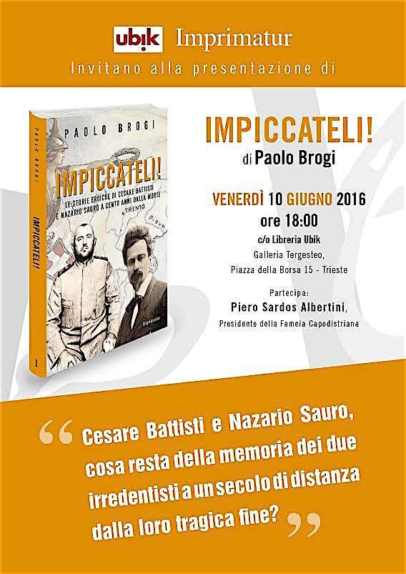 10.6.2016 a Trieste presentazione del libro Impiccateli di Paolo Brogi - www.lavocedelmarinaio.com