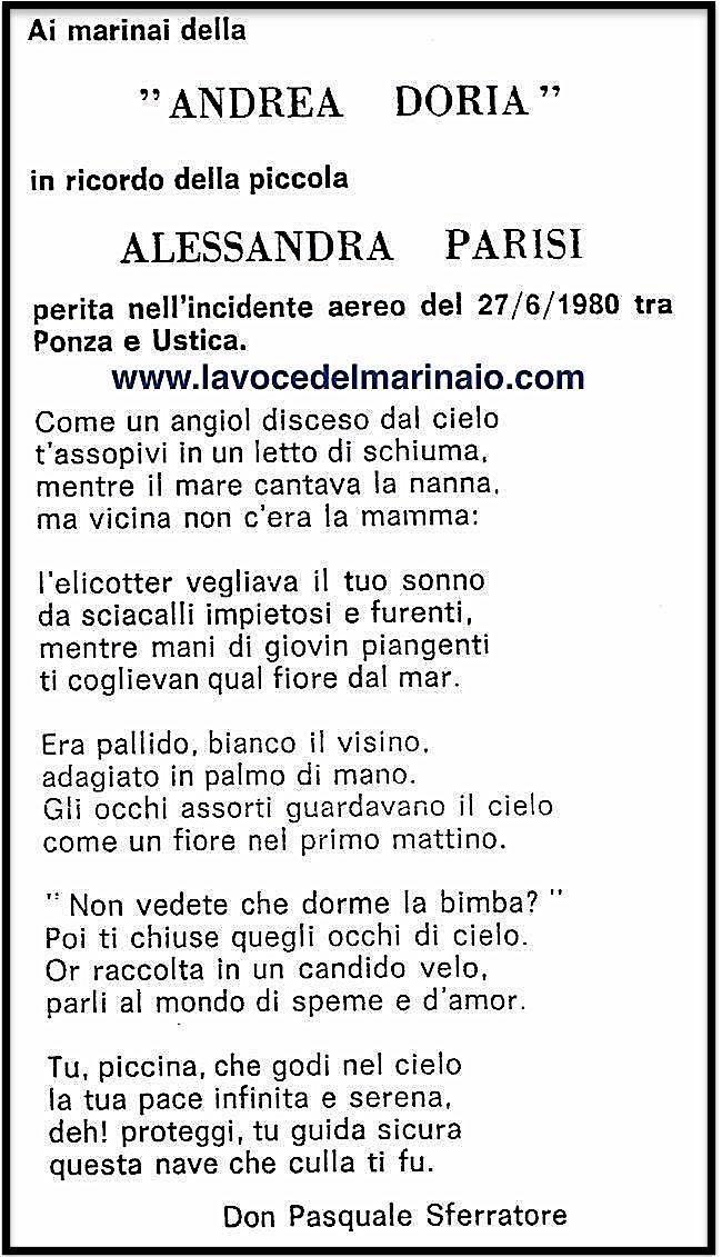 27 giugno 1980 Alessandra Parisi - www.lavocedelmarinaio.com