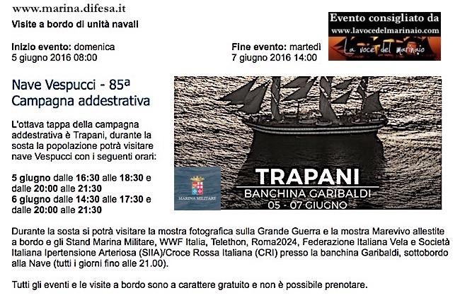 5-8.6.2016 programma nave vespucci a Trapani