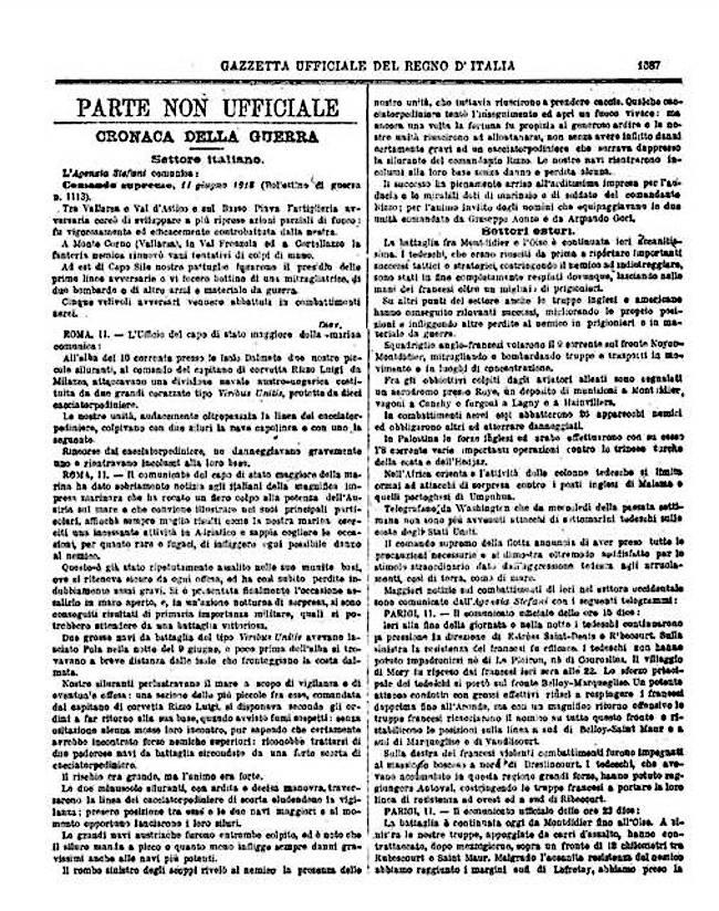 Gazzetta Ufficiale del 12.6.1918