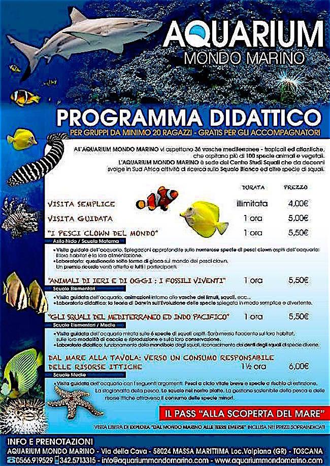aquarium mondo marino - PROGRAMMA DIDATTICO PER RAGAZZI - www.lavocedelmarinaio.com