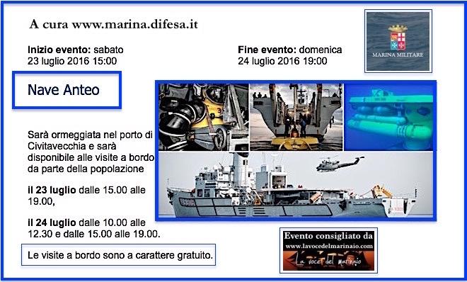 23-24.7.2016 a Civitavecchia visite al pubblico a bordo di nave Anteo  - www.lavocedelmarinaio.com
