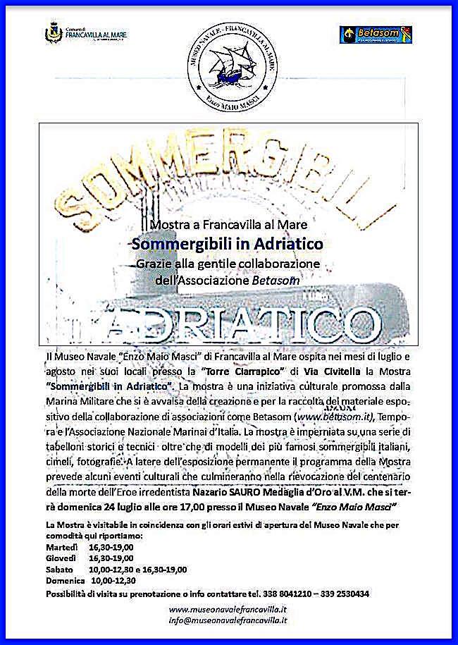 24.7.2016 a Giulianova mostra sommergibili in Adriatico - www.lavocedelmarinaio.com