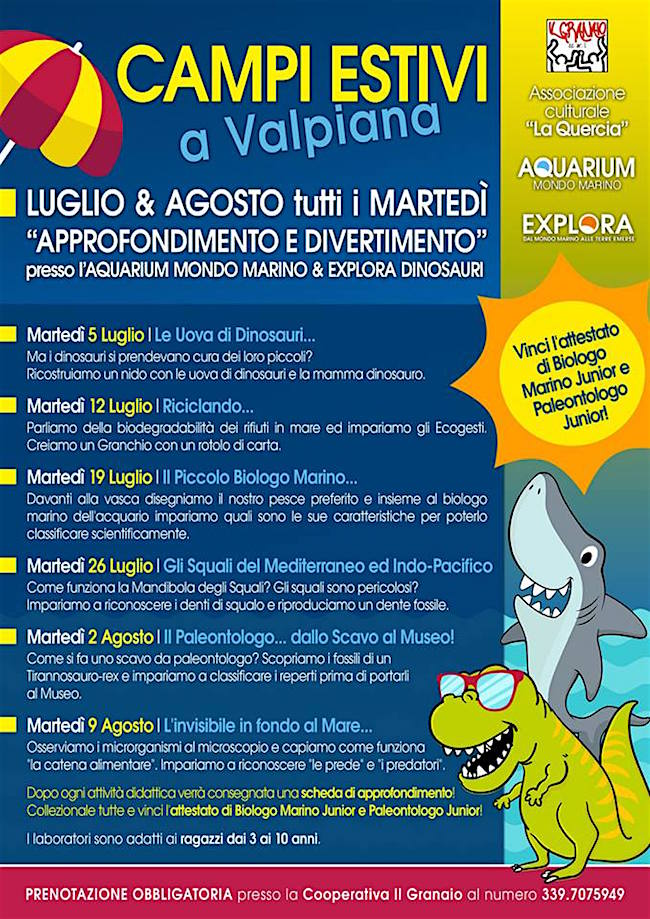 2.8..2016 Campi Estivi a Valpiana con Aquarium Mondo Marino Explora - www.lavocedelmarinaio.com