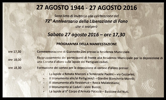 27.8.2016 a Fano celerazioni per la Liberazione - www.lavocedelmarinaio.com
