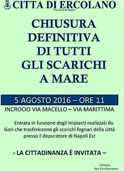 5.8.2016 a Ercolano chisura di tutti gli scarichi a mare - www.lavocedelmarinaio.com