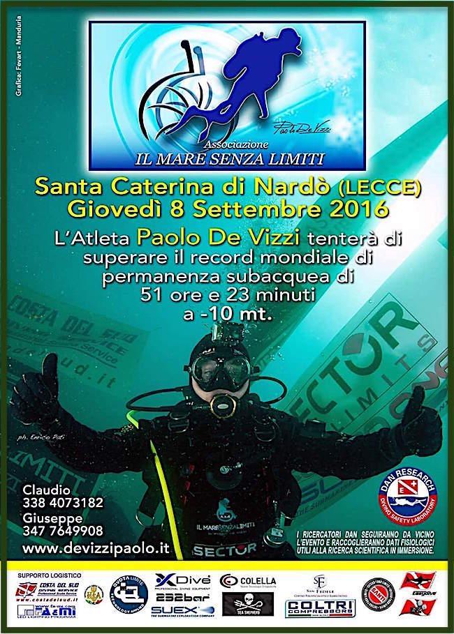 8.9.2016 a Santa Caterina di Nardò (LE) Paolo De Vizzi tenta di superare il record mondiale di permanenza subacquea - www.lavocedelmarinaio.com