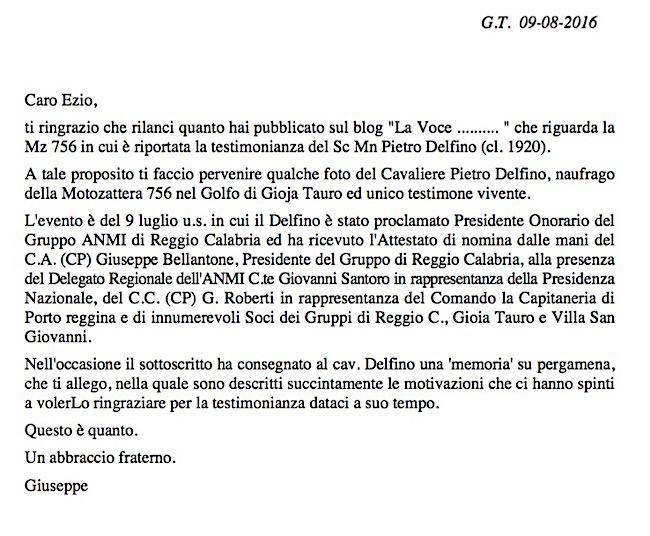 Lettera di Giuseppe Magazzù a la vocedelmarinaio.com