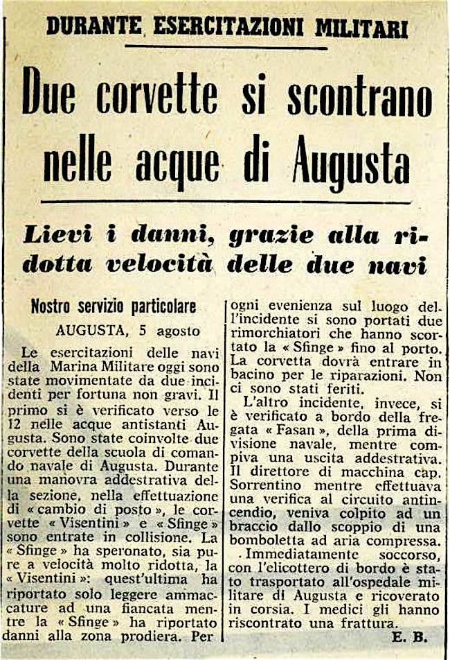 articolo di stampa dell'epoca pgc Mario Veronesi a www.lavocedelmarinaio.com