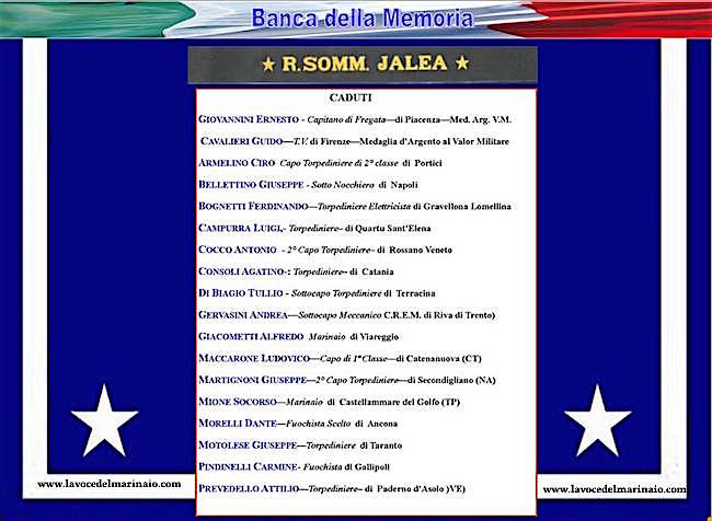 i caduti del regio sommergibile Jalea - www.lavocedelmarinaio.com
