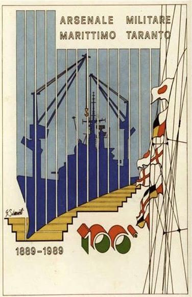 la locandina per la celebrazione del centenario dell'arsenale di Taranto - www.lavocedelmarinaio.com
