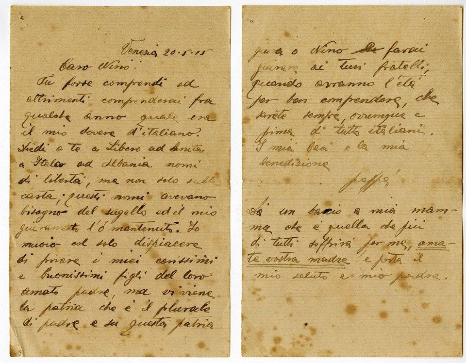 lettera di Nazario Sauro (p.g.c. Romano Sauro) - www.lavocedelmarinaio.com