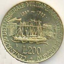 moneta 200 lire coniata per centenario arsenale di Taranto - www.lavocedelmarinaio.com