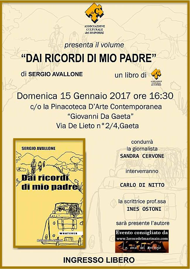 15.1.2016 a Gaeta presentazione del libro Dai ricordi di mio padre di Sergio Avallone - www.lavocedelmarinaio.com