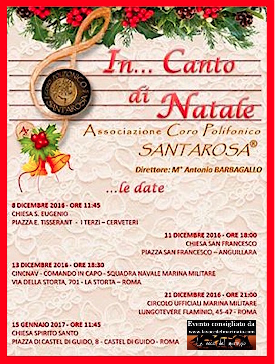 15.1.2017 a Castel di Guido - Roma concerto del coro polifonico Santarosa - www.lavocedelmarinaio.com