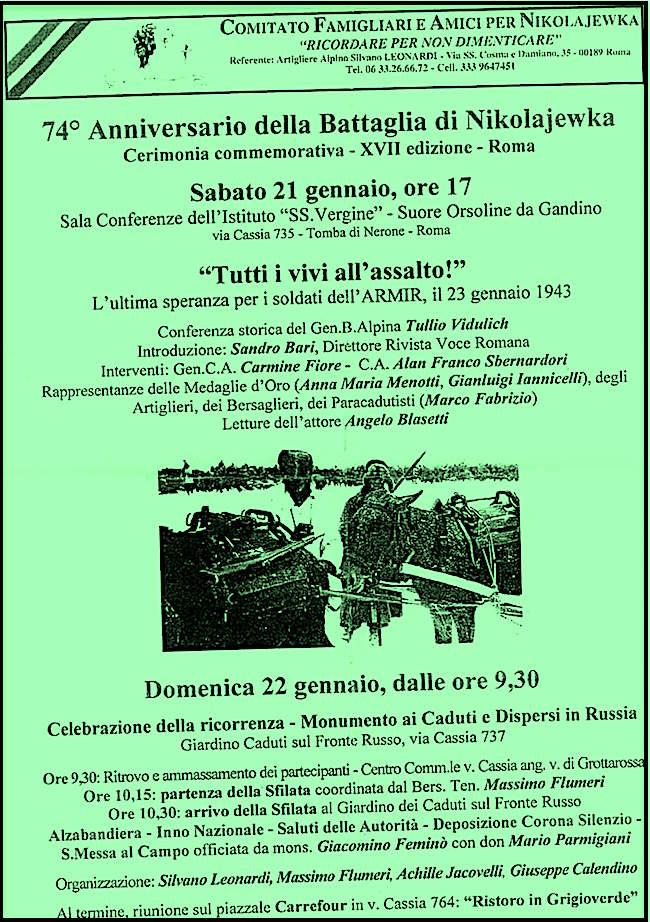 21-22.1.2017 a Roma per ricordare i Caduti e Dispersi in Russia dellARMIR - www.lavocedelmarinaio.com