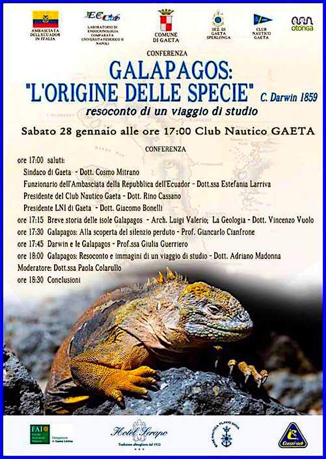 28.1.2017 a Gaeta conferenza su Galapagos l'origine della specie - www.lavocedelmarinaio.com