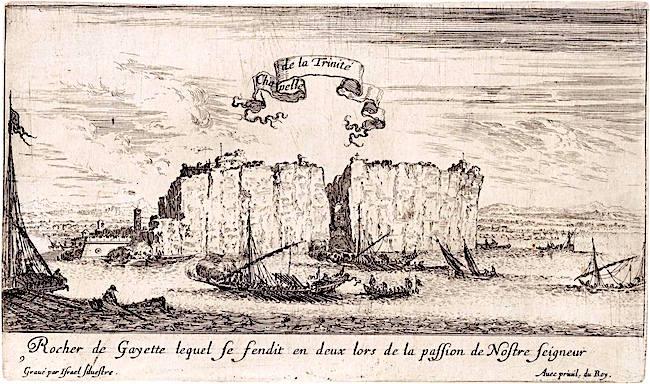 8-galee-rendono-omaggio-al-crocifisso-della-montagna-spaccata-in-una-incisione-del-xvii-secolo