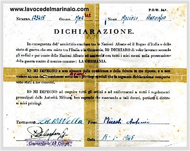 Dichiarazione di fedeltà del Maresciallo Antonio Miccoli - www.lavocedelmarinaio.com