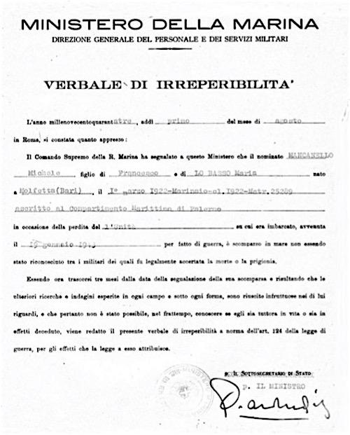 Michele Mancanello - Verbale di irreperibilità - copia - www.lavocedelmarinaio.com
