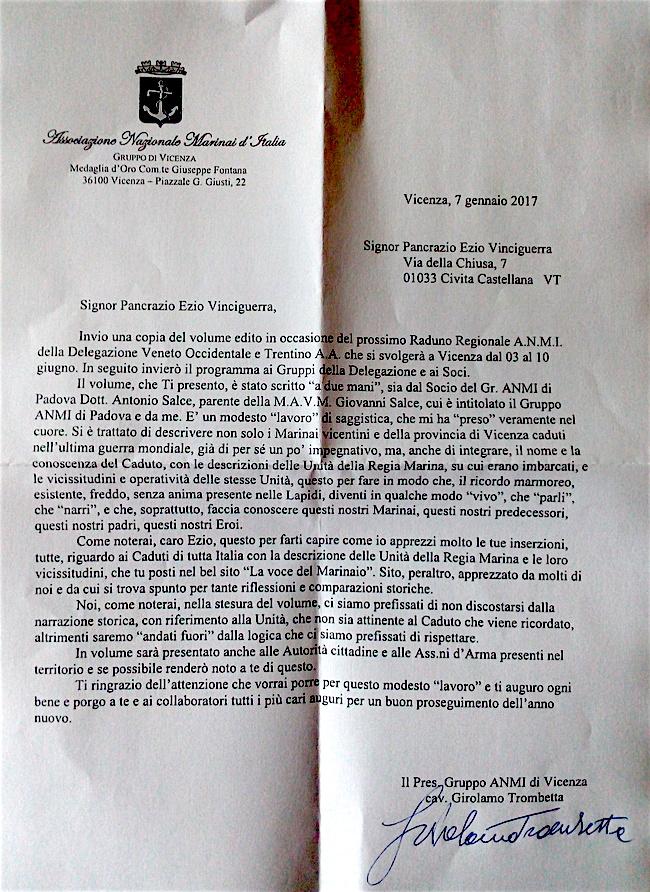 Lettera di Girolamo Trombetta - www.lavocedelmarinaio.com