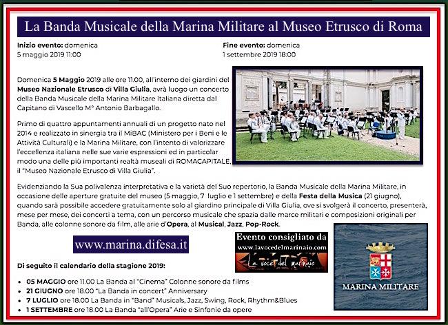Calendario Marina Militare 2019.7 7 2019 A Roma Esibizione Della Banda Della Marina